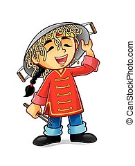chinese boy is laughing holding a frying pan upside-down cap with noodles