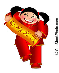 Chinese Boy Holding Scroll with Text Wishing Happiness and Wealth in New Year Illustration Isolated on White Background
