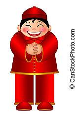 Chinese Boy Wishing Happy New Year Illustration - Chinese...