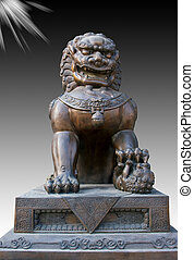 Chinese bronze  lion statue