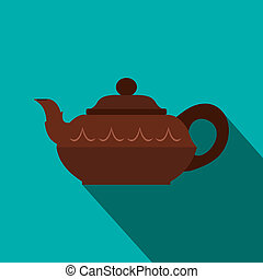 Chinese brown teapot icon, flat style