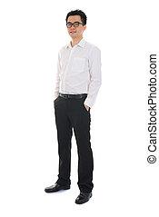 Chinese business man of asian descendant , full length portrait isolated on white background