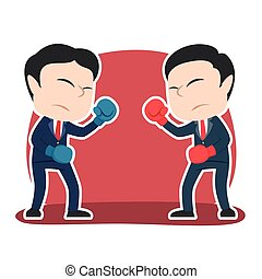 Chinese businessman duel boxing