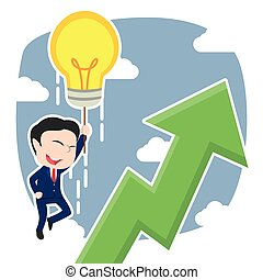 Chinese businessman fly with his idea and see upward graphic