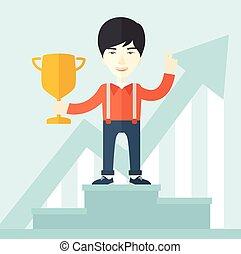 Chinese businessman on winning podium