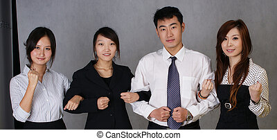 Chinese merchants hand in hand. Indicates the unity and success.