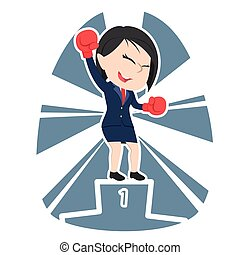 Chinese businesswoman boxer champion color