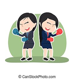 Chinese businesswoman fighting together