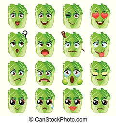 Chinese cabbage Emoji Emoticon Expression. Funny cute food