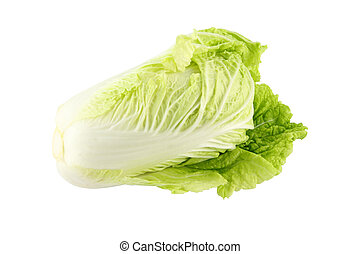 Chinese cabbage head on white background.