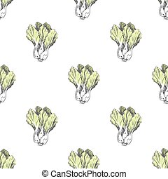 Chinese Cabbage Illustration in Endless Texture