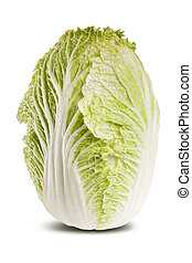 Chinese cabbage isolated on white. - Studio shot of fresh...