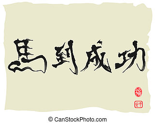 Chinese Calligraphy for celebrating Chines horse new year, Chinese characters as Achieving Immediate Success