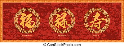 Chinese Symbol Calligraphy Ink Brush Strokes in Border Circle with Text of Good Fortune Prosperity and Longevity on Red Texture Background