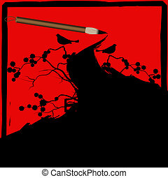 Chinese calligraphy ink brush grunge