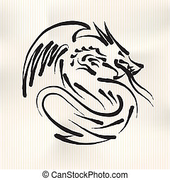 Chinese Calligraphy of Dragon, vector Eps10 illustration.