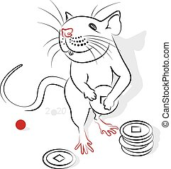 Chinese Calligraphy Rat 2020