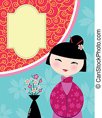 card with a chinese girl on asian style background