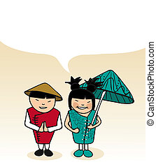Chinese cartoon couple bubble dialogue - Chinese man and...