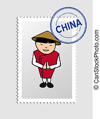 Chinese man cartoon with china postal stamp. Vector illustration layered for easy editing.