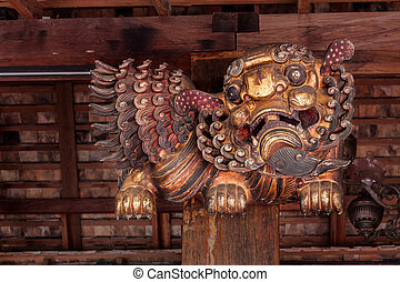 Chinese carving wooden lion