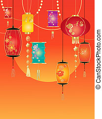 an illustration of a chinese holiday greeting card design with coloful lanterns and decoration on a tangerine background with a setting sun
