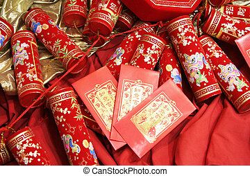 firecrackers - chinese celebration firecrackers and red ...