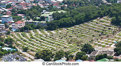 Chinese Cemetery in Thailand. Top view of the tomb of the Chines