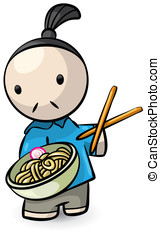Chinese Chef Presenting Saimin with Chopsticks - A chinese...