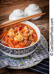 Chinese chicken with vegetables.