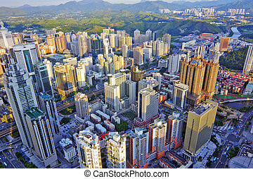 chinese city - Bird view at city of shenzhen China
