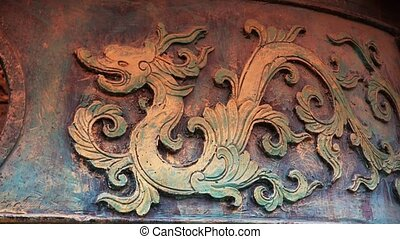 Chinese classical historical bronze dragon pattern.