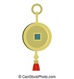 chinese coin of luck icon isolated
