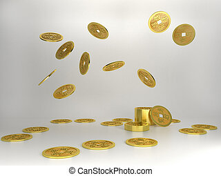 Chinese Copper Coins, 3D Rendering on white background