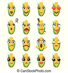 Chinese corn Emoji Emoticon Expression. Funny cute food