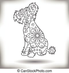 Chinese crested dog painted silhouette isolated on white -...