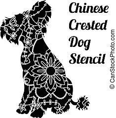 Chinese crested dog stencil