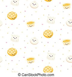 Chinese cuisine cartoon style food pattern vector with egg tart and dim sum.