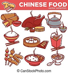 Chinese cuisine food dishes vector flat icons set - Chinese...