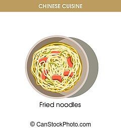 Chinese cuisine fried noodles traditional dish food vector icon for restaurant menu