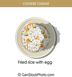 Chinese cuisine fried rice eggs traditional dish food vector icon restaurant menu