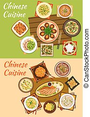 Chinese cuisine icon of signature oriental dishes - Chinese...