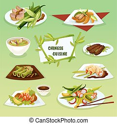 Chinese cuisine icon with seafood and meat dishes
