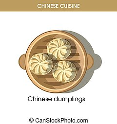 Chinese cuisine meat dumplings traditional dish food vector icon for restaurant menu