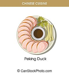 Chinese cuisine Peking duck traditional dish food vector icon for restaurant menu