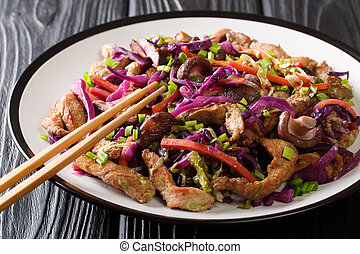 Chinese cuisine pork moo shu with vegetables and mushrooms ...