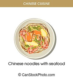 Chinese cuisine seafood noodles traditional dish food vector icon for restaurant menu
