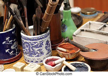 chinese culture , china painting desk close up.