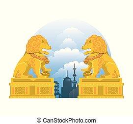 chinese culture lion emblem