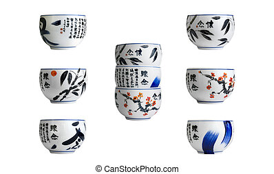 Chinese cups isolated